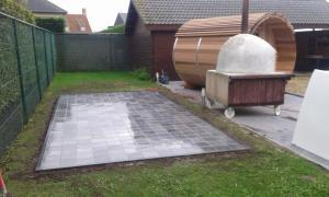 Project met natuursteen terrassen